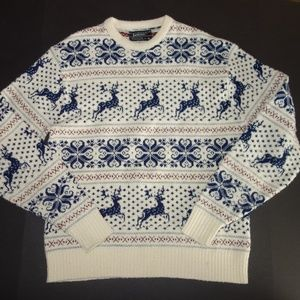 Jantzen Mens Sweater XL White Blue Reindeer crew